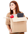 Happy woman moving