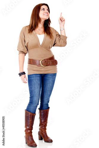 Woman pointing an idea