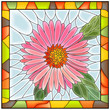 Vector illustration of flower pink aster.