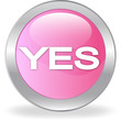 "The pink button with ""YES"" inscription"