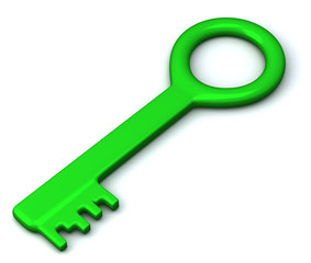 Green key icon 3d with shadow