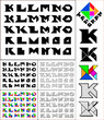 Tangram font, fixed-height alphabet, letters K,L,M,N,O, 5 styles
