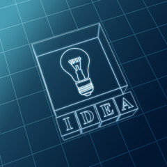 blue idea and bulb