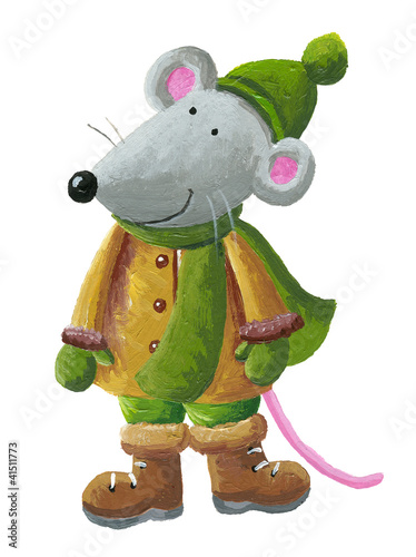 Mouse in winter clothes