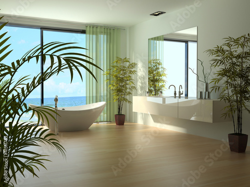 Modern Luxury Bathroom Design Interior with plants