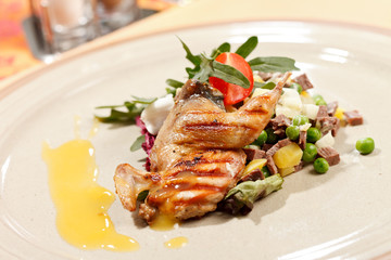 quail on the meat salad