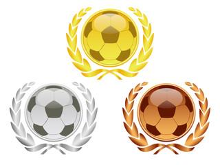 Fußball - Lorbeerkränze Gold, Silber , Bronze