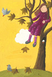 Girl sitting on a tree in autumn