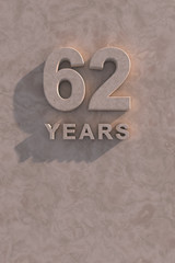 62 years 3d text