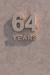 64 years 3d text