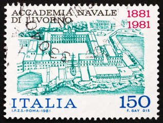 Postage stamp Italy 1981 shows View of Naval Academy of Livorno