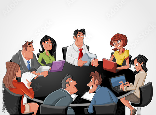 Meeting table with cartoon business people