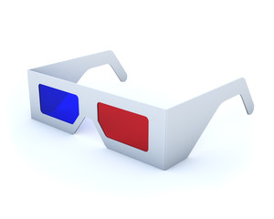 Classic disposable cardboard anaglyph 3D glasses.
