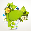 Green banner design with leaf and roses