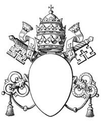Papal coat of arms, and Tiara