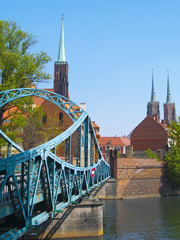 Lovers bridge and cathedrals in Wroclaw, Poland
