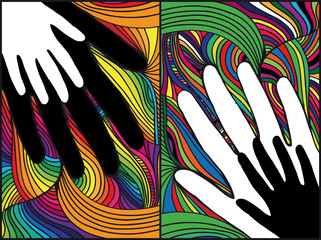 Sketch of hand on abstract background. vector illustration