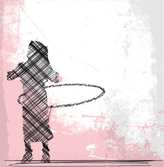 Abstract Sketch of Young girl playing with hula hoop. vector ill