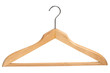 Wooden clothing hanger isolated over white background..