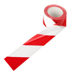The spool of red and white tape isolated over white background