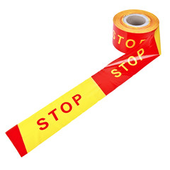 "A spool of plastic tape ""STOP"" isolated over white background"