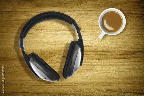 headphones and coffee