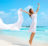Beautiful Girl With White Scarf Jumping on The Beach - Fine Art prints