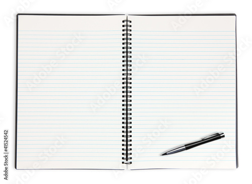 open lined book and pen