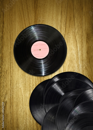 vinyl records on desk