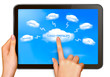 Cloud computing concept  Finger touching cloud