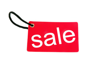 red paper tag labeled with sale words
