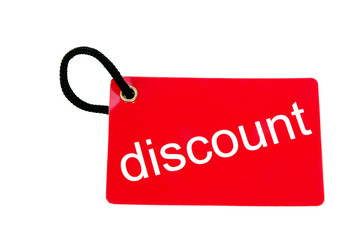 red paper tag labeled with discount words