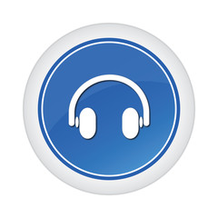 headphone blue glossy button