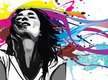 Dziewczyna z kolorowym tle Wektor powitalny