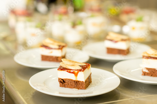 Banana dessert cake piece on white plate