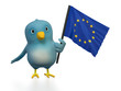 "Blue bird (""Bluebert"") with the flag of Europe"