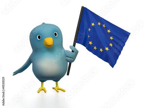 "Blue bird (""Bluebert"") with the flag of Europe"