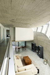 modern house in cement, interior, living room top view