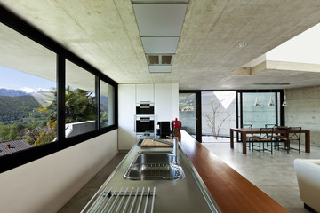 beautiful modern house in cement, interior, open space