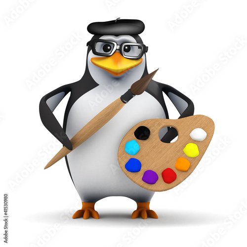 3d Penguin in glasses with palette and brush