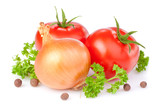 Two red tomatoes, bulbs of onion, parsley and Allspice isolated