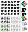 Tangram font, fixed-height alphabet, letters P,Q,R,S,T, 5 styles