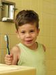 Niño cepillándose los dientes en un baño.