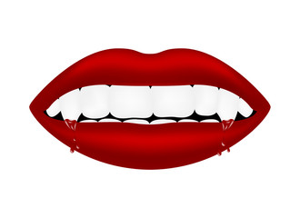 Vampire mouth with bloody teeth
