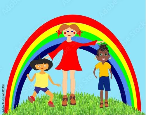 Deurstickers Regenboog dzieci