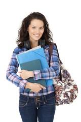 Happy college student girl