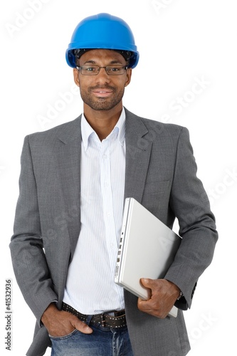 Elegant engineer with laptop