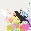 Vector illustration of a lizard on an abstract background
