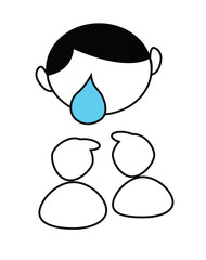Cartoon boy crying big blue tear isolated on white