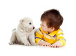 little kid training puppy on white background